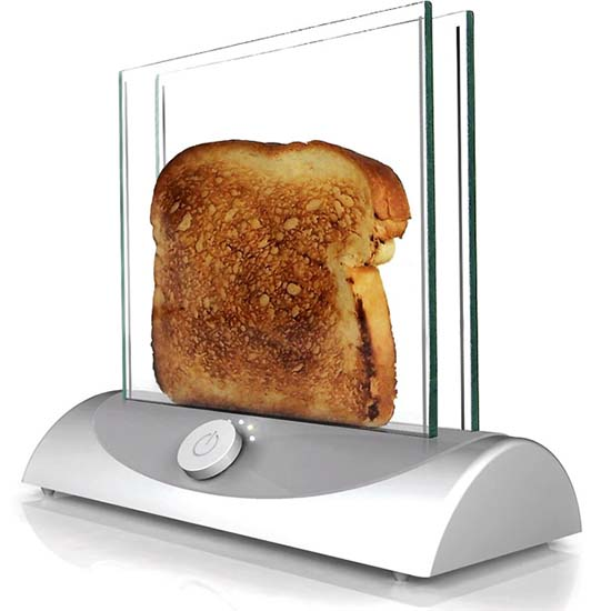 Burned or underdone toast could soon be a thing of the past thanks to a new glass toaster that lets you see your bread as it browns. Bread is placed between two sheets of heated glass and cooked in full view so you can eject your slice at the perfect moment. No longer will you need to put the bread back down and run the risk of burning your breakfast. Solent News & Photo Agency 02380 458800 Not for use on websites without prior agreement of 50 per image, unless individual agreements are already in place with an individual publication. WEBSITE BYLINE is mandatory. 'www.solentnews.biz' must appear within the image area.