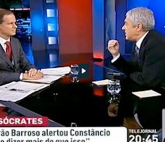 """Sócrates """"insulta"""" José Rodrigues dos Santos"""