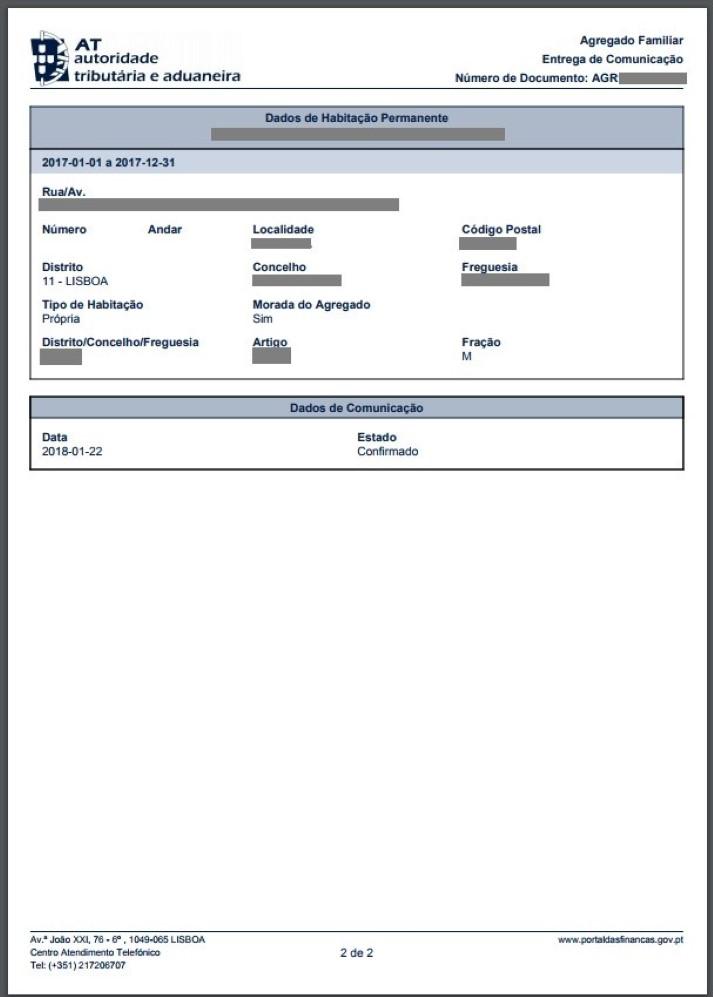agregado familiar para o IRS