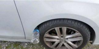 garrafa no pneu do teu carro